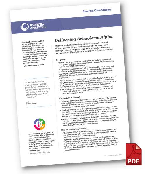 Delivering Behavioral Alpga - case study